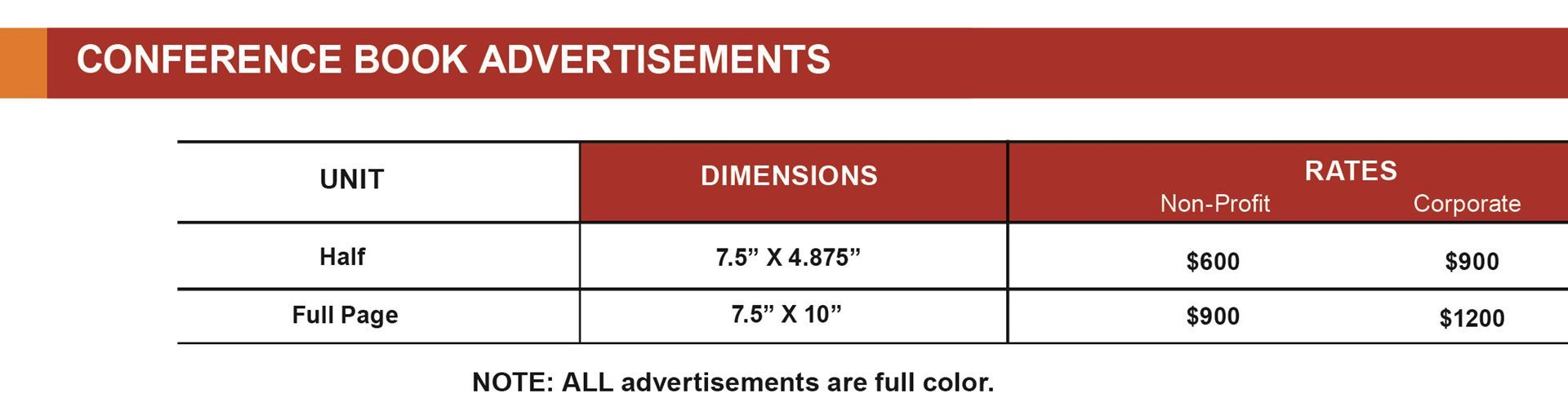 conference advertisement fees